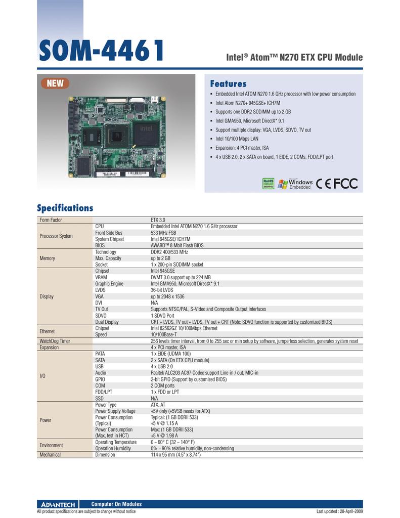Advantech Som 4461 Specification Of Parallel Port