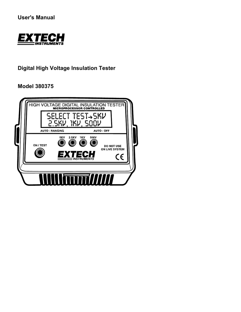 Extech 380375 Insulation Tester Constant 5kv