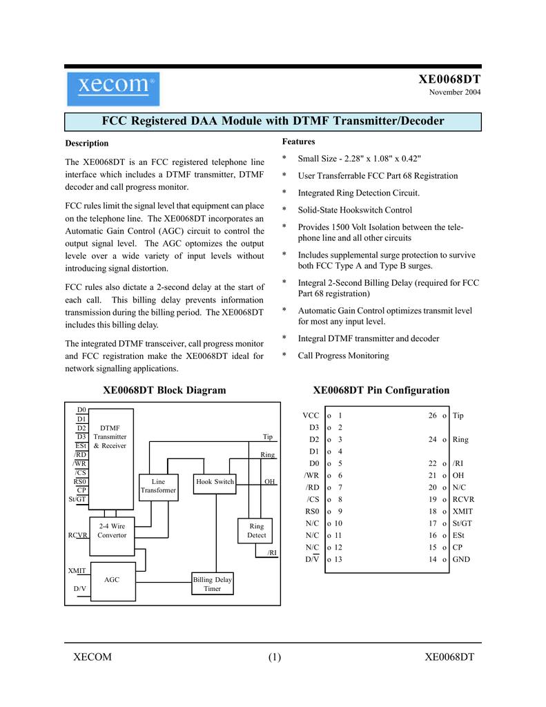 Etc Xe0068dt Dtmf Generator Decoder