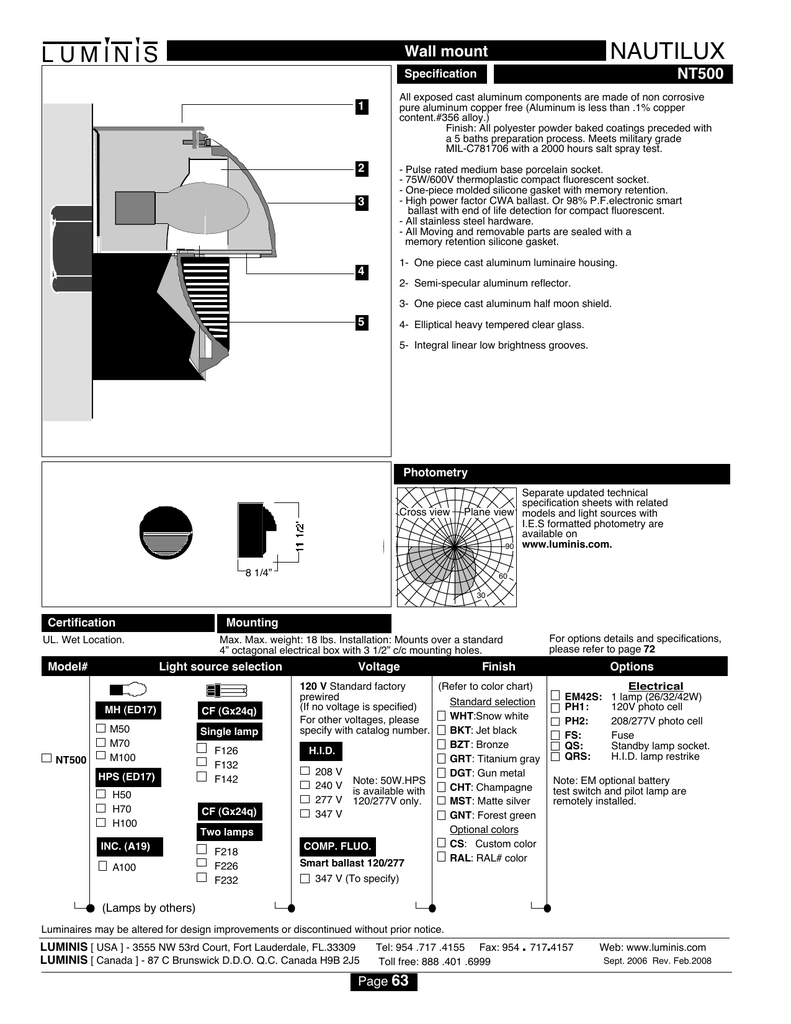 Luminis Nt500 Hid Light 277v Electrical Wiring Diagrams