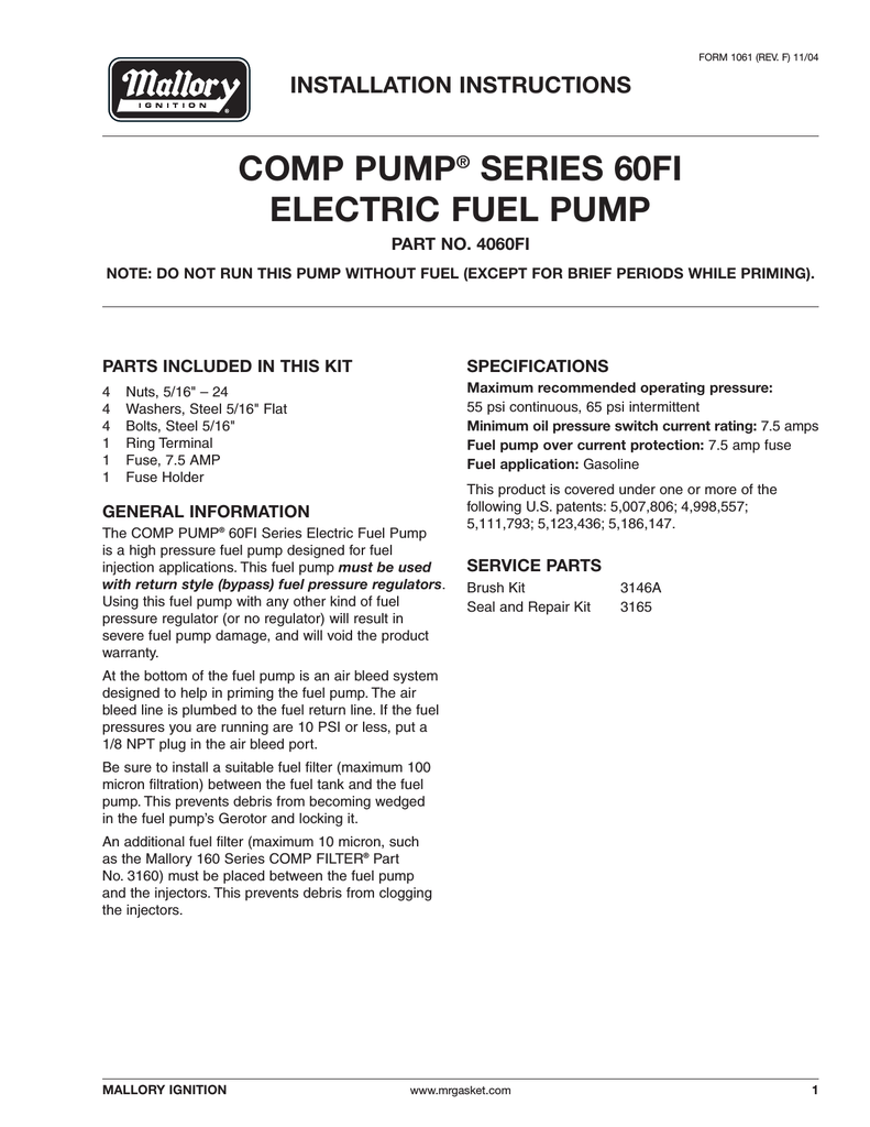 Mallory 4060fi Electric Fuel Pump Pressure Specifications