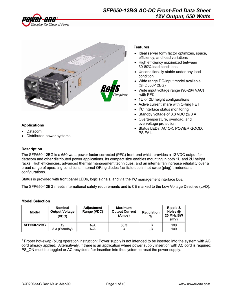 Power One Sfp650 Fet Overload Current Trip