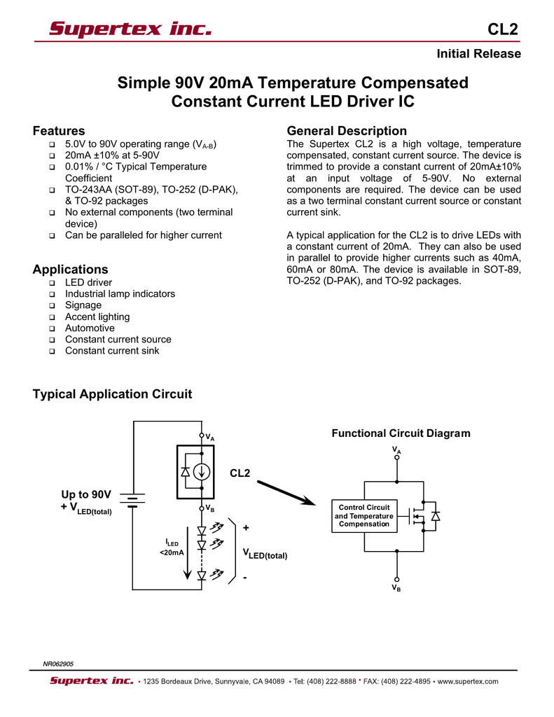 Supertex Cl2 Constant Current Source Circuit Diagram