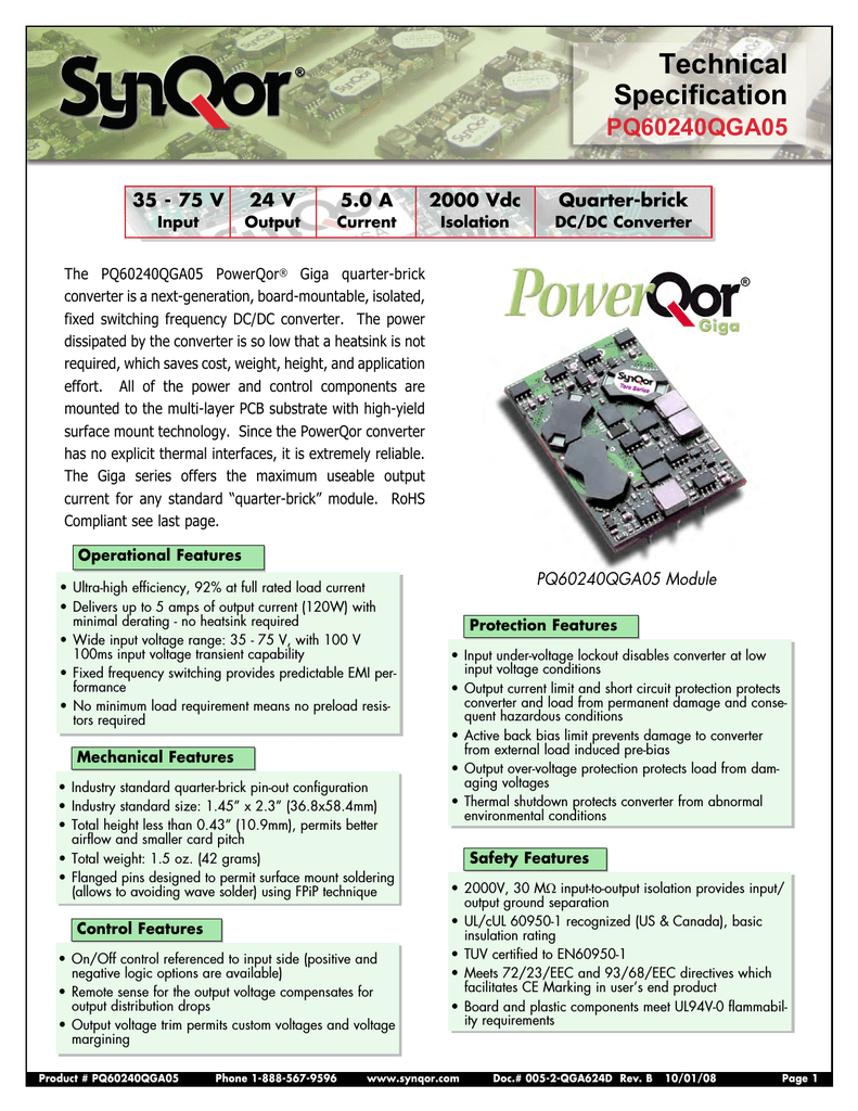 Synqor Pq60240qga05nns Active Current Limiting Or Shortcircuit Protection