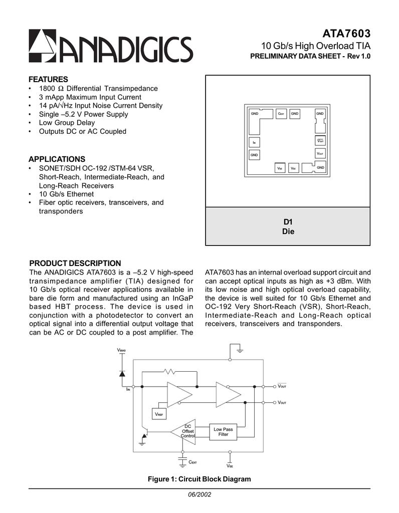Anadigics Ata7603 Ac Coupling A Noninverting Amplifier