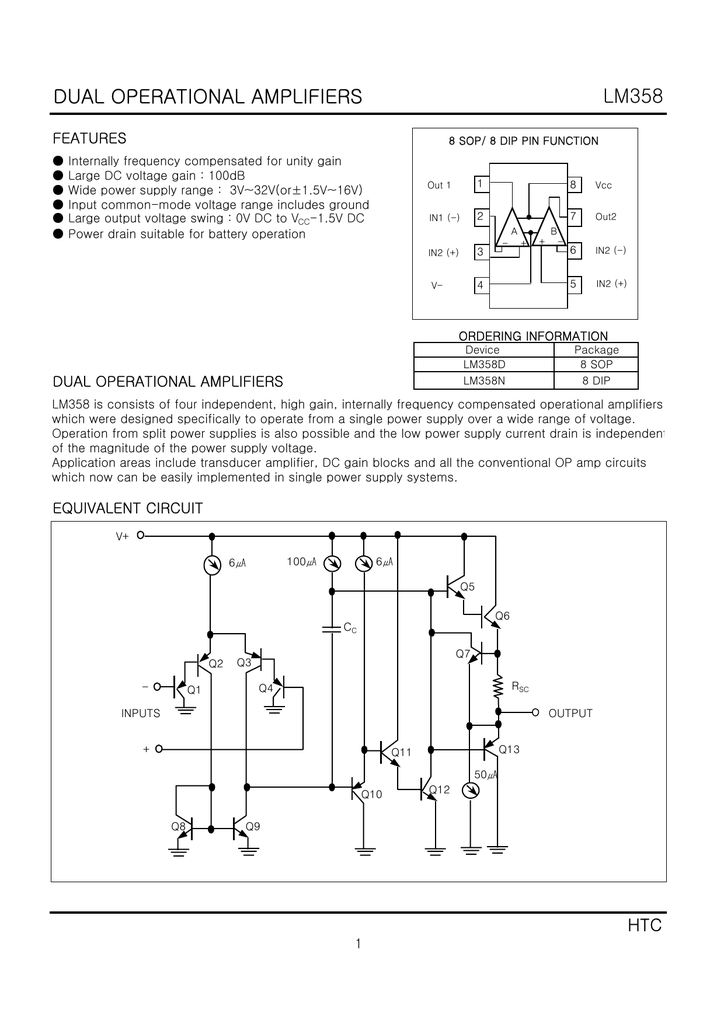 Htc Lm358d Lm358n Lowpower Dual Opamp With Low Input Bias Current