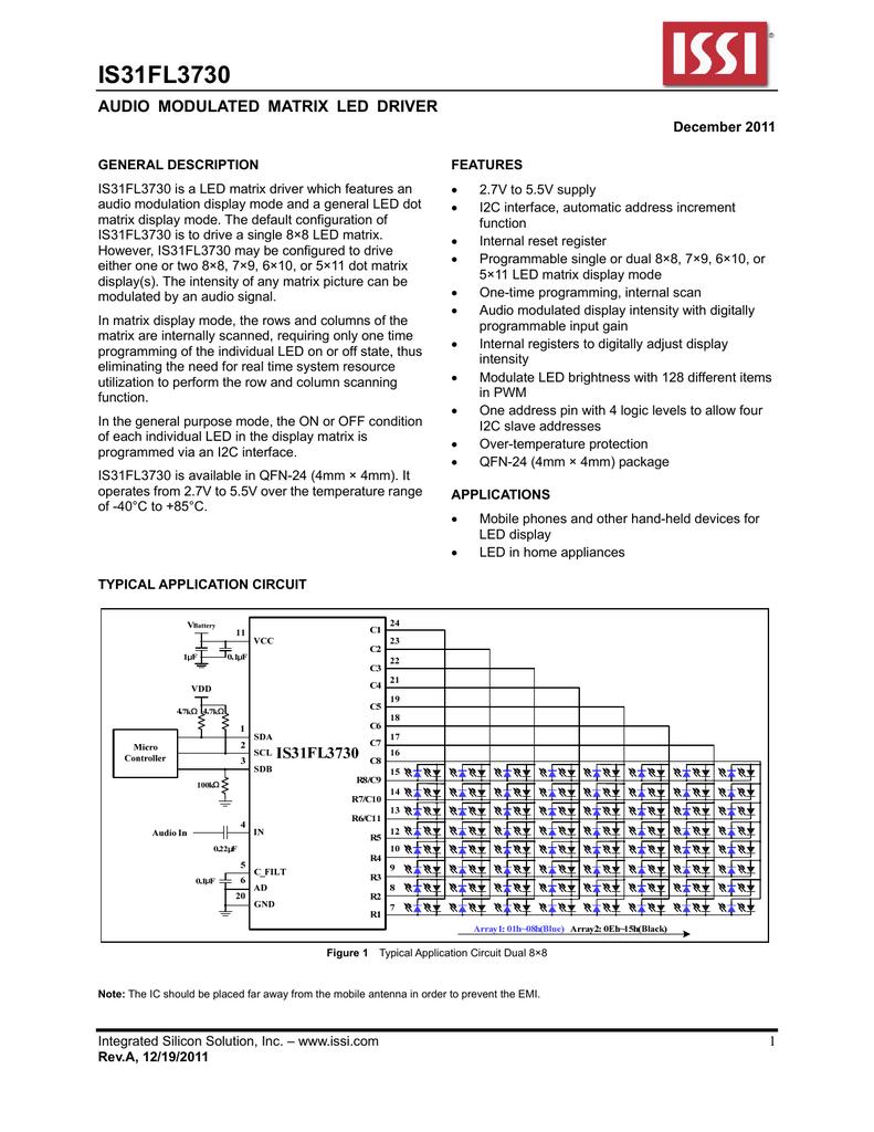 Issi Is31fl3730 Matrix Led Display Circuit
