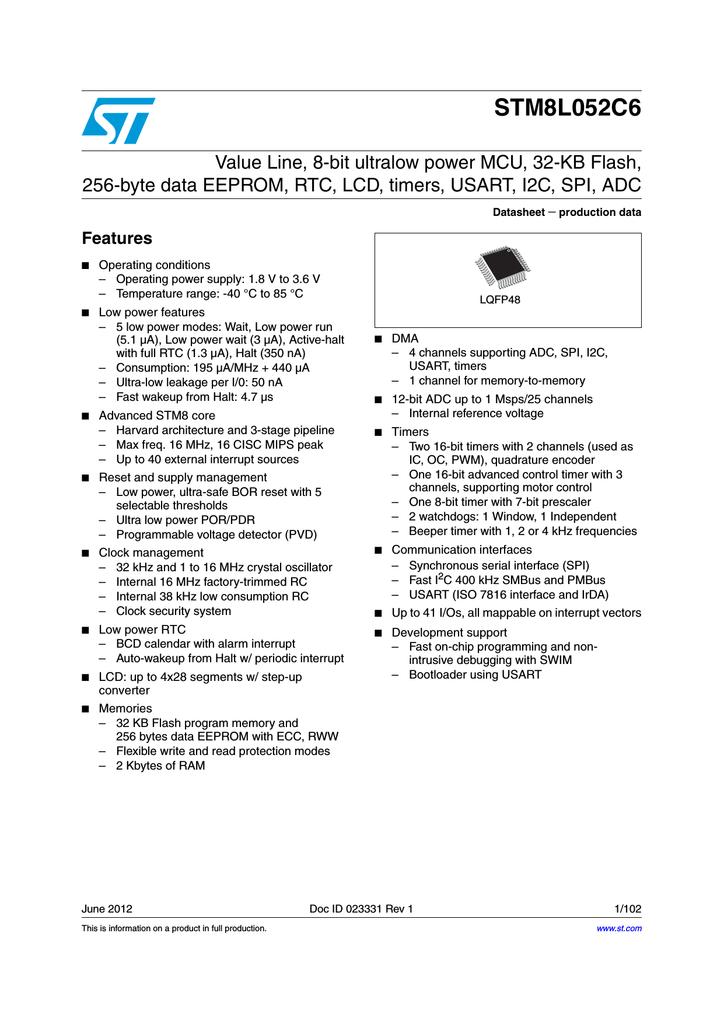 stmicroelectronics stm8l052c6 rh dtsheet com Mazatrol Programming Manual Avaya Partner Programming Manual