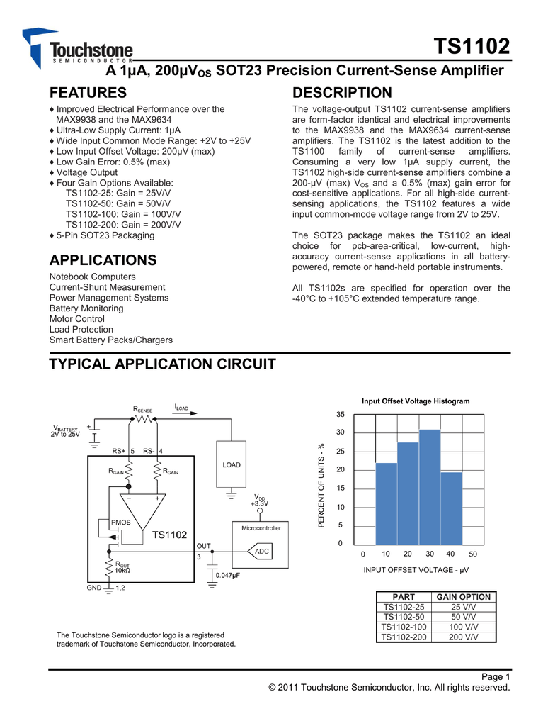 Touchstone Ts1102 Current Amplifier Application Need Very Low Input Bias And