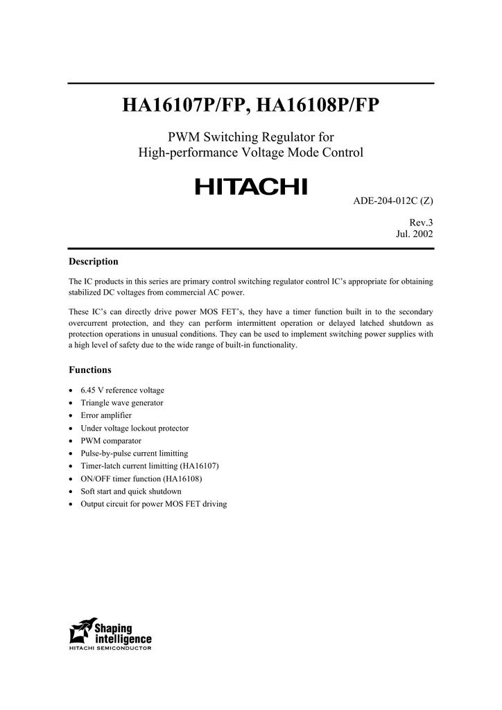 HITACHI HA16107P DIP-16 Timer latch fail safe voltage