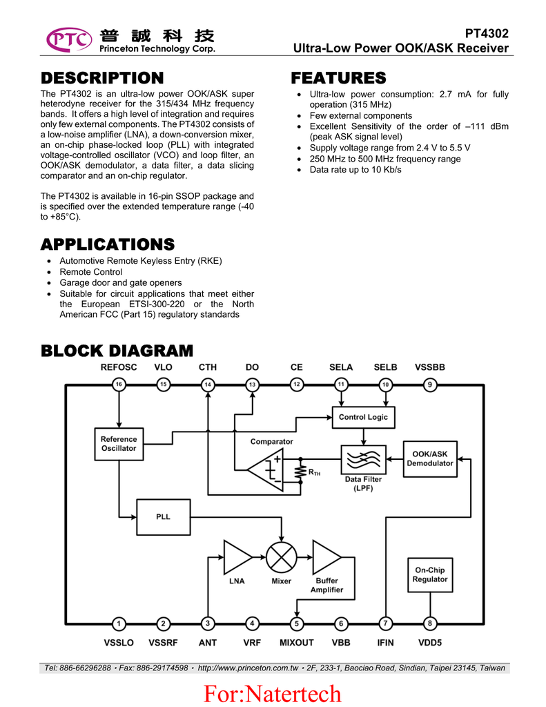 Ptc Pt4302 Level 2 Block Diagram