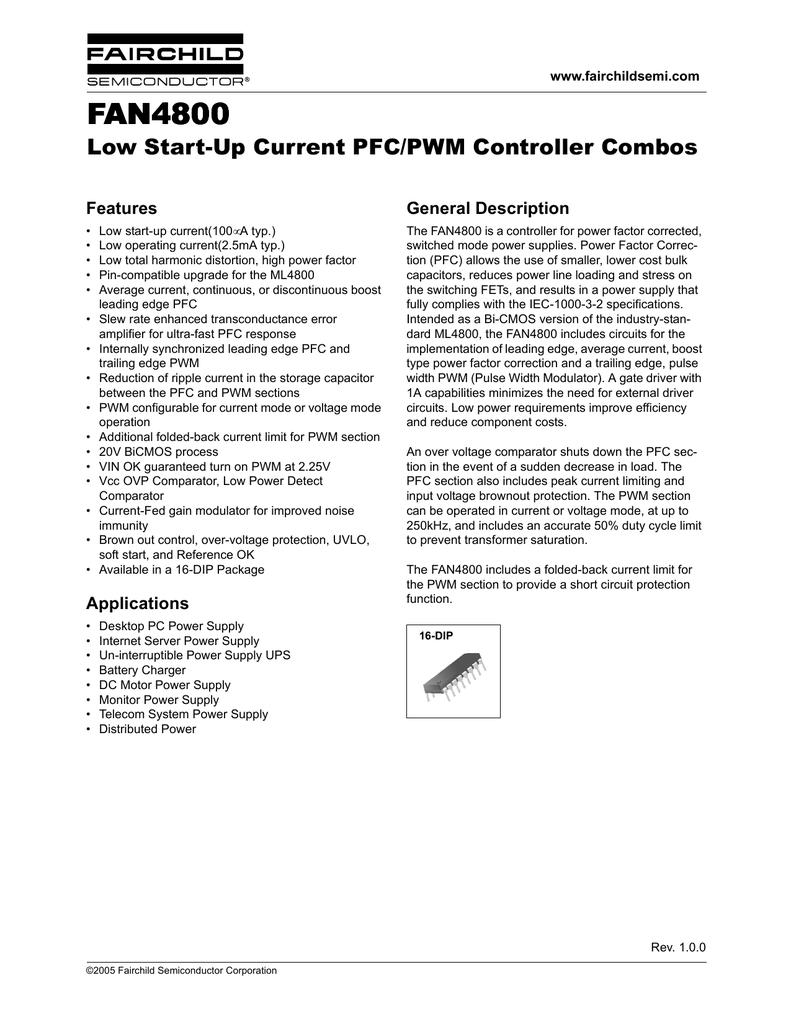 Fairchild Fan4800 Current Limiting Power Supply