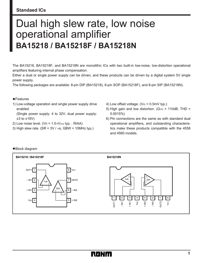 Ba15218n Pdf Op Amp Single Power Supply Ba Dual High Slew Rate Low Noise Operational Amplifier The Baf And Ban Are Monolithic Ics With Two Built In