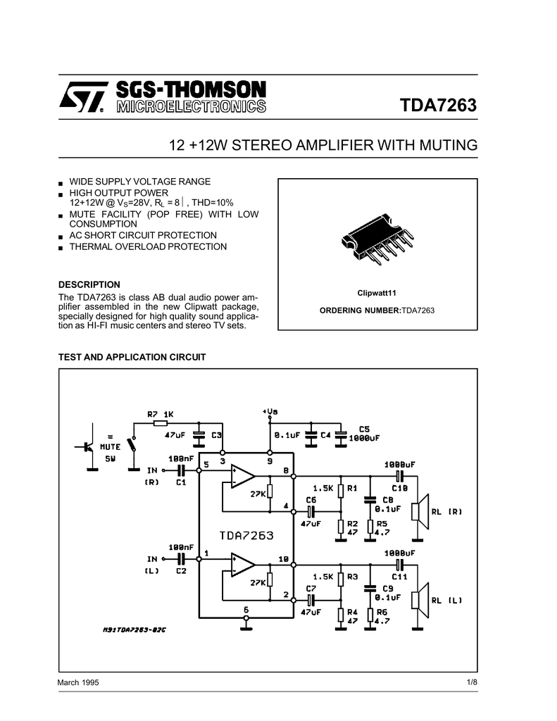 Stmicroelectronics Tda7263 Figure 1 Tda2050 Typical Hifi Amplifier Schematic
