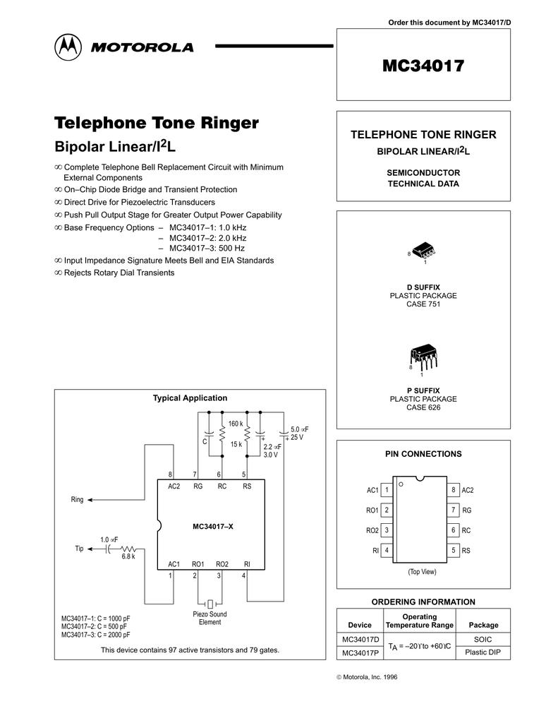 Motorola Mc34017 Transient Rc Circuit