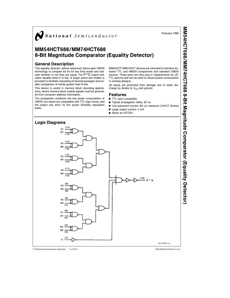 Nsc Mm54hct688 8 Bit Magnitude Comparator Logic Diagram