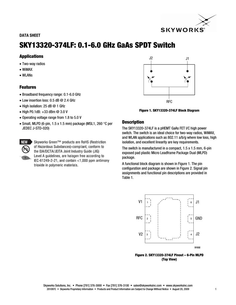 Skyworks Sky13320 2 Way Switch Datasheet