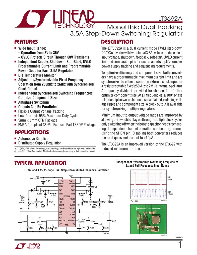 Liner Lt3991 Dual Input Single 33v 4a Output Step Down Converter Circuit Diagram Using Lt3692