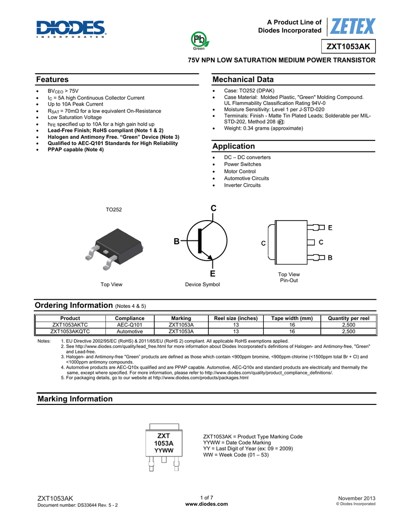 Datasheet - Diodes Incorporated