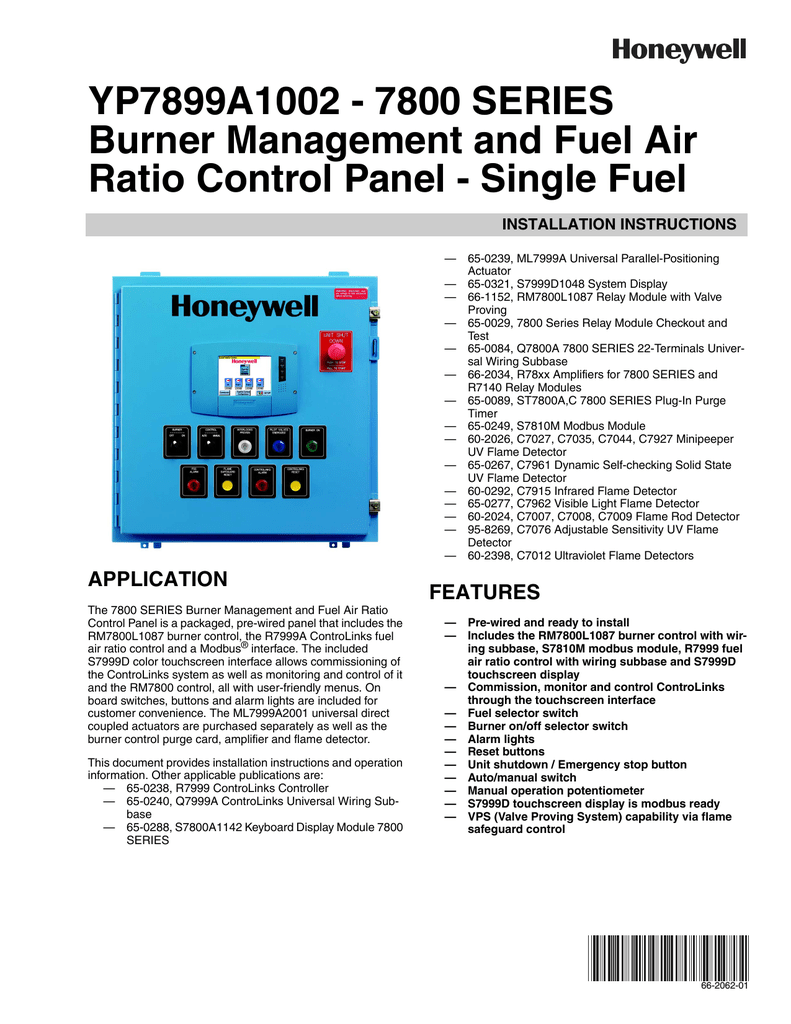 Honeywell 7800 Burner Control Wiring Diagram Digital Series Management And Fuel Air Ratio On Thermostat