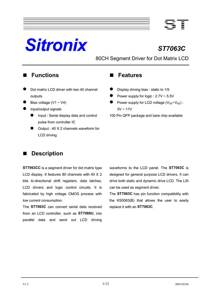 Sitronix ST7063C