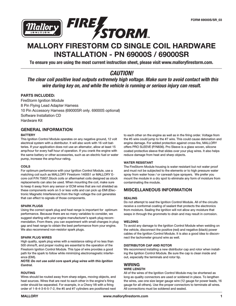 Mallory Firestorm Wiring Diagram Third Level Instructions 69000s 69000sr Hyfire Iv