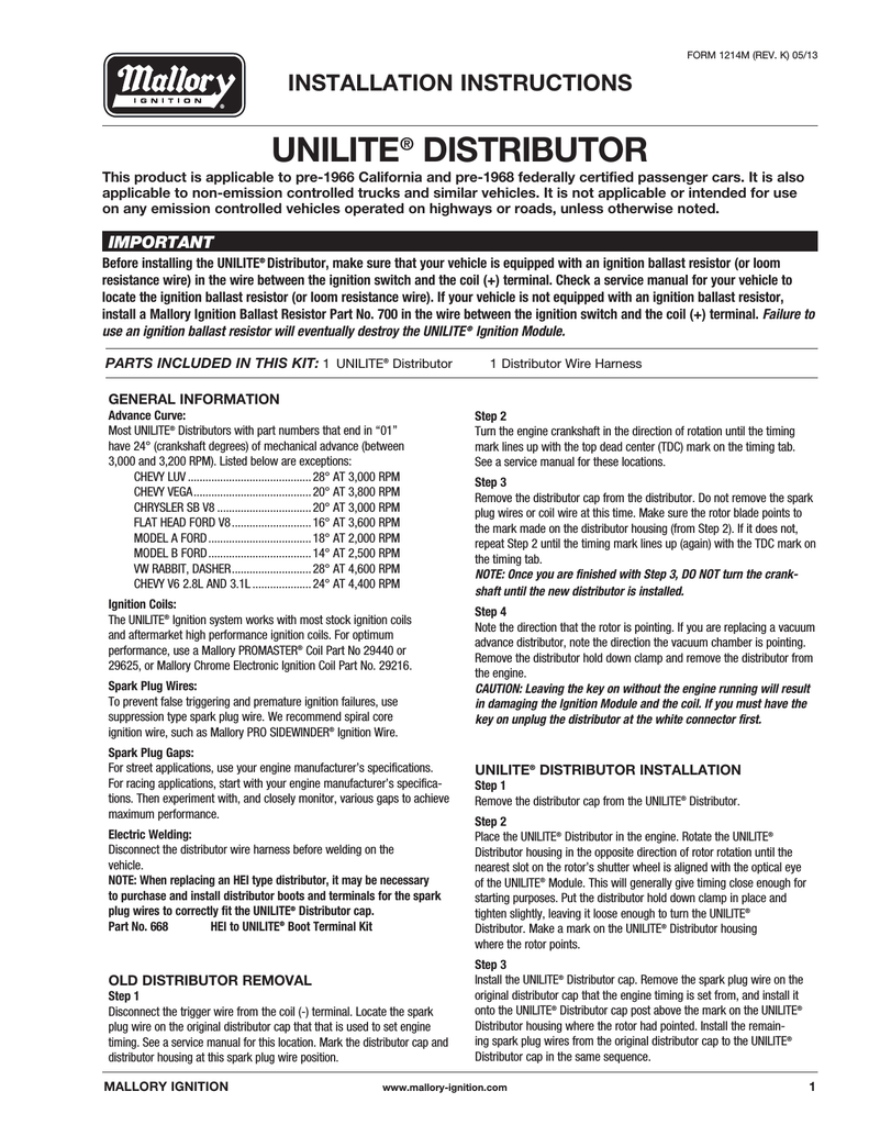 Mallory Unilite Distributor Installation Instructions Wire Harness