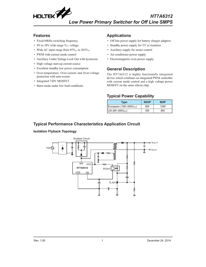 Ht7a6312 Low Power Primary Switcher For Off Line Smps 38v Wiring Diagram 001275815 1 9b02238bff2c7e1798b51f70b78621d2