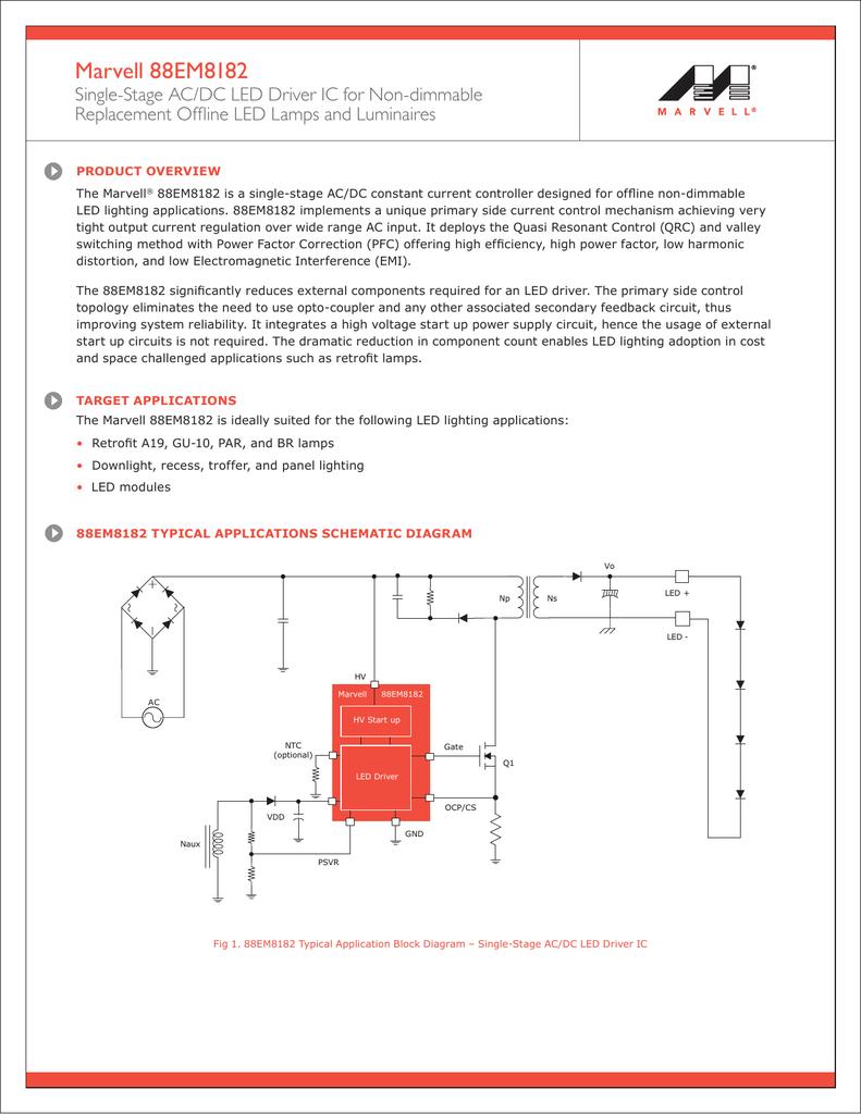 88em8182 Product Brief Ac Led Circuit Diagram