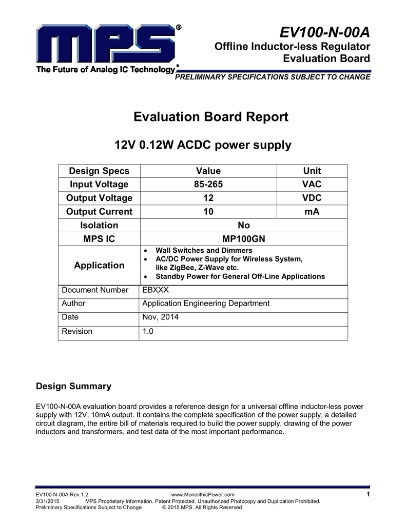 Ev100 N 00a Offline Inductor Less Regulator Evaluation Board Circuit Diagram For Wireless System