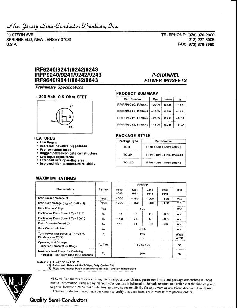 Irf9640 New Jersey Semiconductor Irfz44 Datasheet