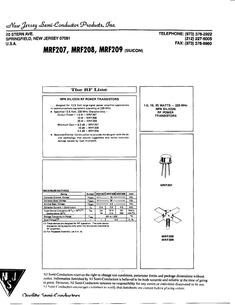 MRF207, MRF208, MRF209(S L>CON)