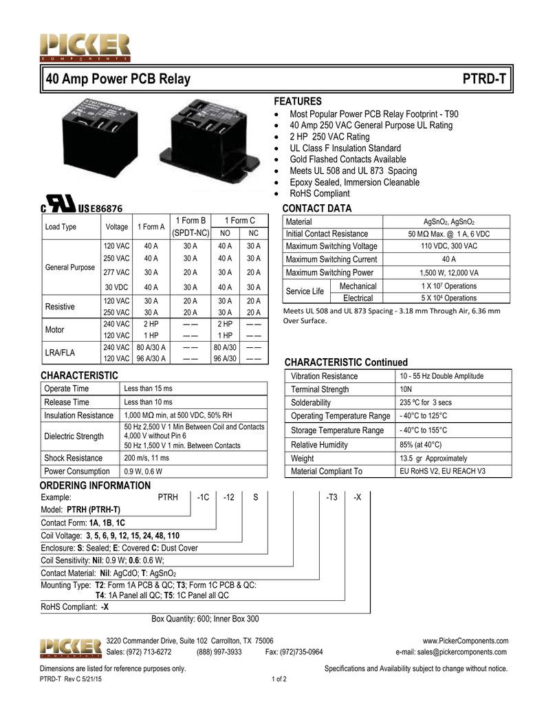 Ptrd T Data Sheetpub Spdt Wiring Diagram 240