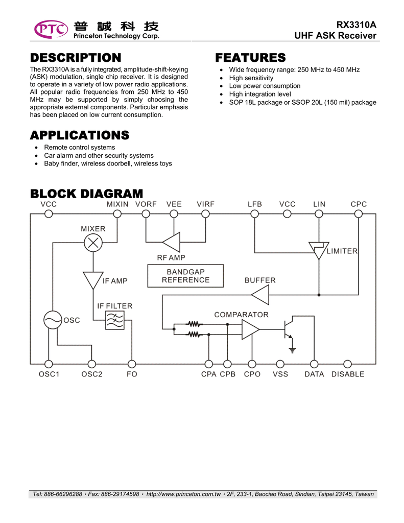 Description Applications Features Block Diagram Wireless Doorbell Circuit