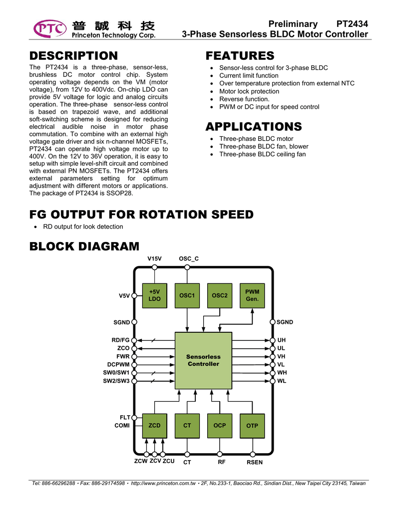 Description Features Applications Fg Output For Rotation Speed Block Brushless Dc Motor Driver Diagram