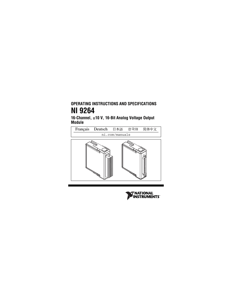 NI 9264 Operating Instructions and Specifications