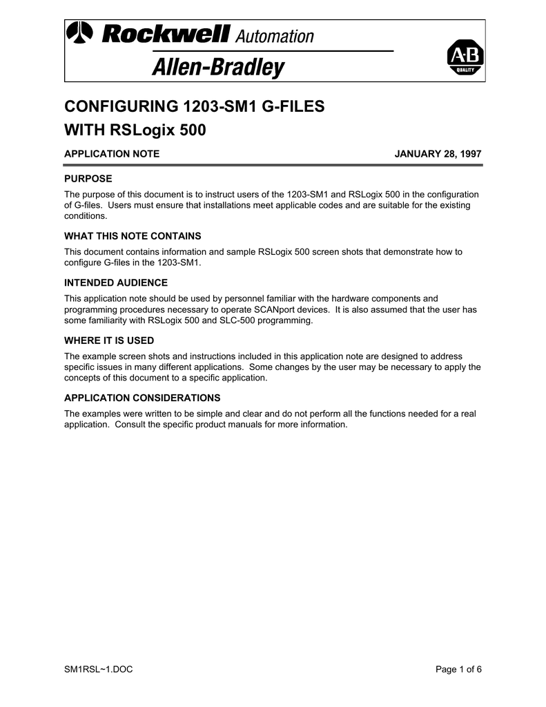 CONFIGURING 1203-SM1 G-FILES WITH RSLogix 500