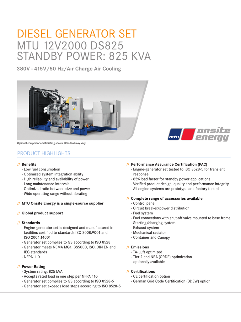 Spec Sheet - MTU Onsite Energy