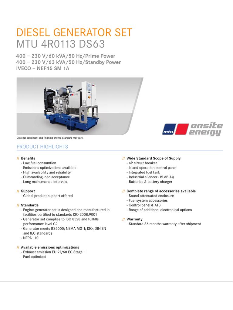 DIESEL GENERATOR SET MTU 4R0113 DS63