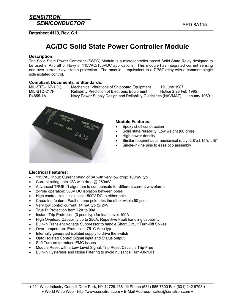 Ac Dc Solid State Power Controller Module Relay Design