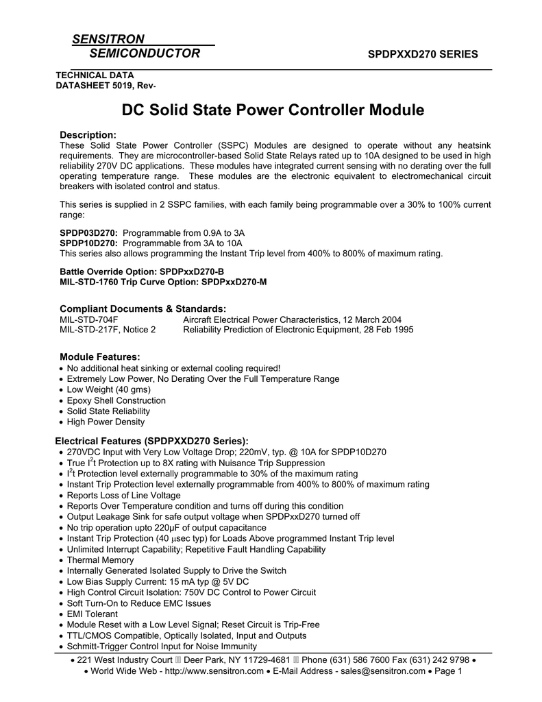 Technical Data Sheet Dc Solid State Relay Circuit