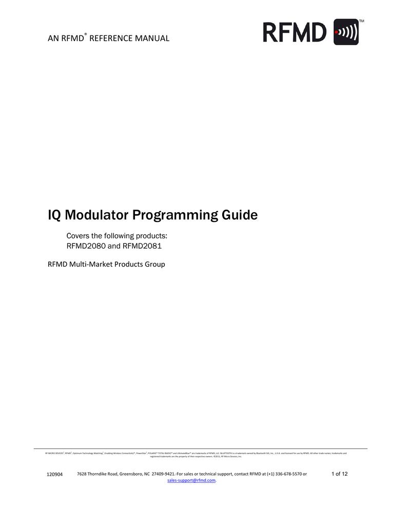 Iq Modulator Programming Guide I Q Block Diagram 001327498 1 0ee6b40343ec3b5daa21e2f3c81bd388