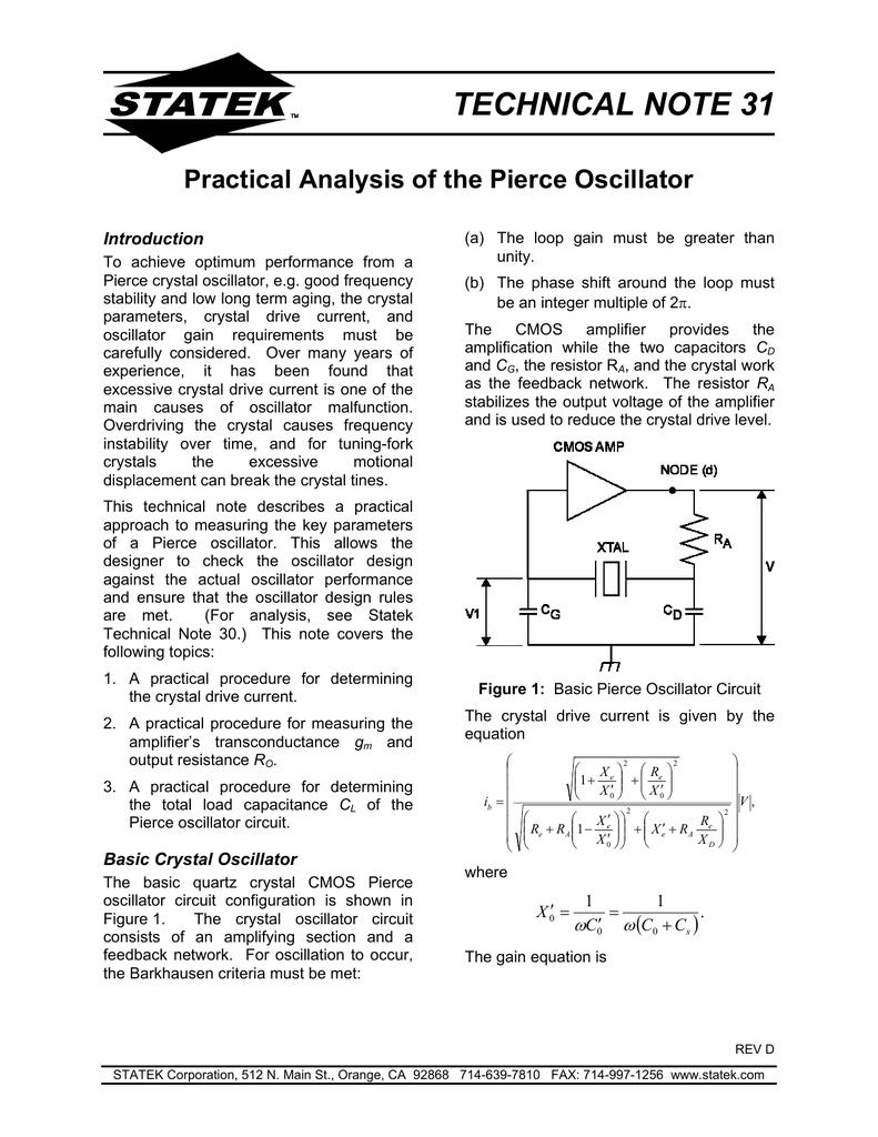 Technical Note 31 Statek Corporation Basic Oscillator Circuit