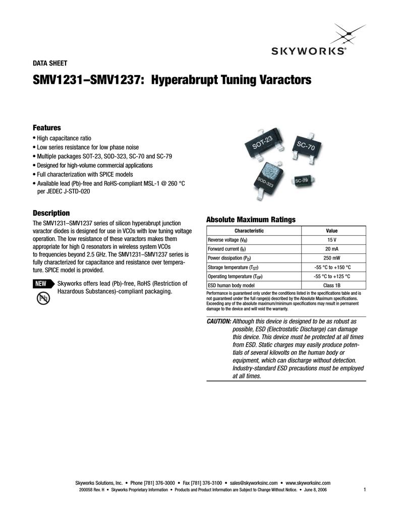 Diodo Varactor Tuning RF 5 x Skyworks Solutions SMV1236-011LF