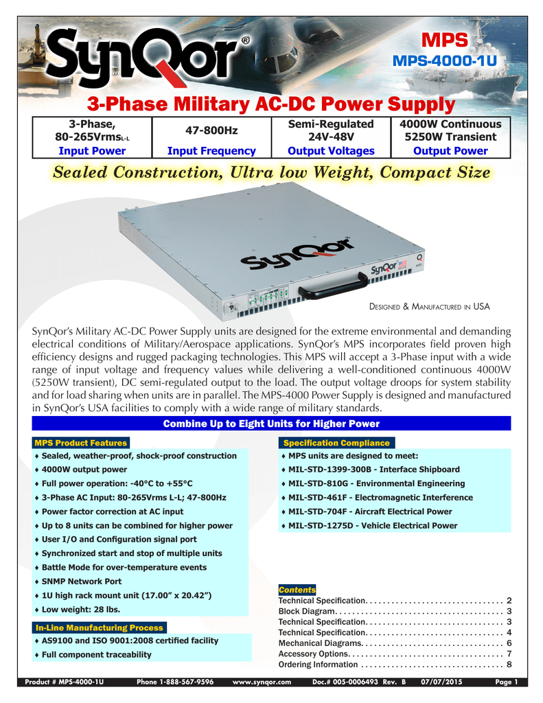Mps 4000 1u Datasheet Block Diagram Dc Power Supply