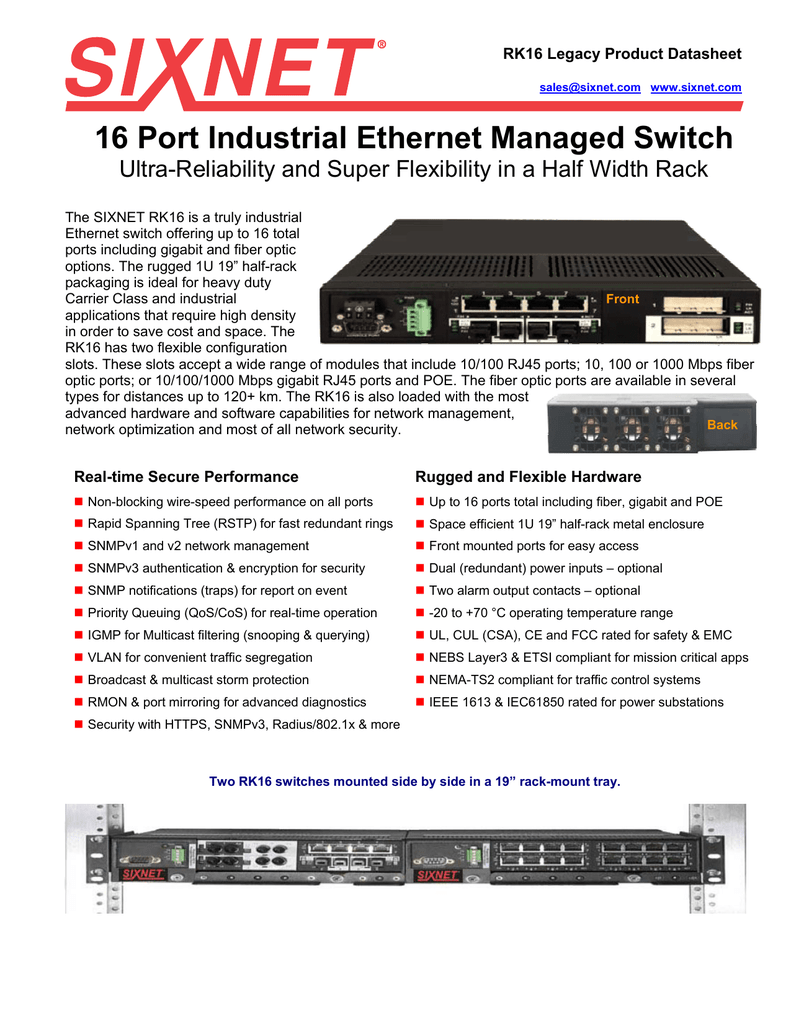 16 Port Industrial Ethernet Managed Switch