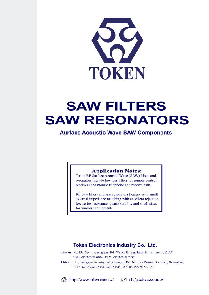 saw filters - saw resonators - Token Electronics Industry Co  Ltd