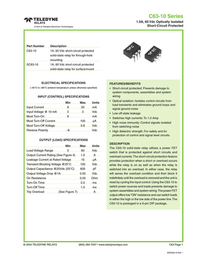 C63 10 Teledyne Relays Solidstaterelaycircuitpng