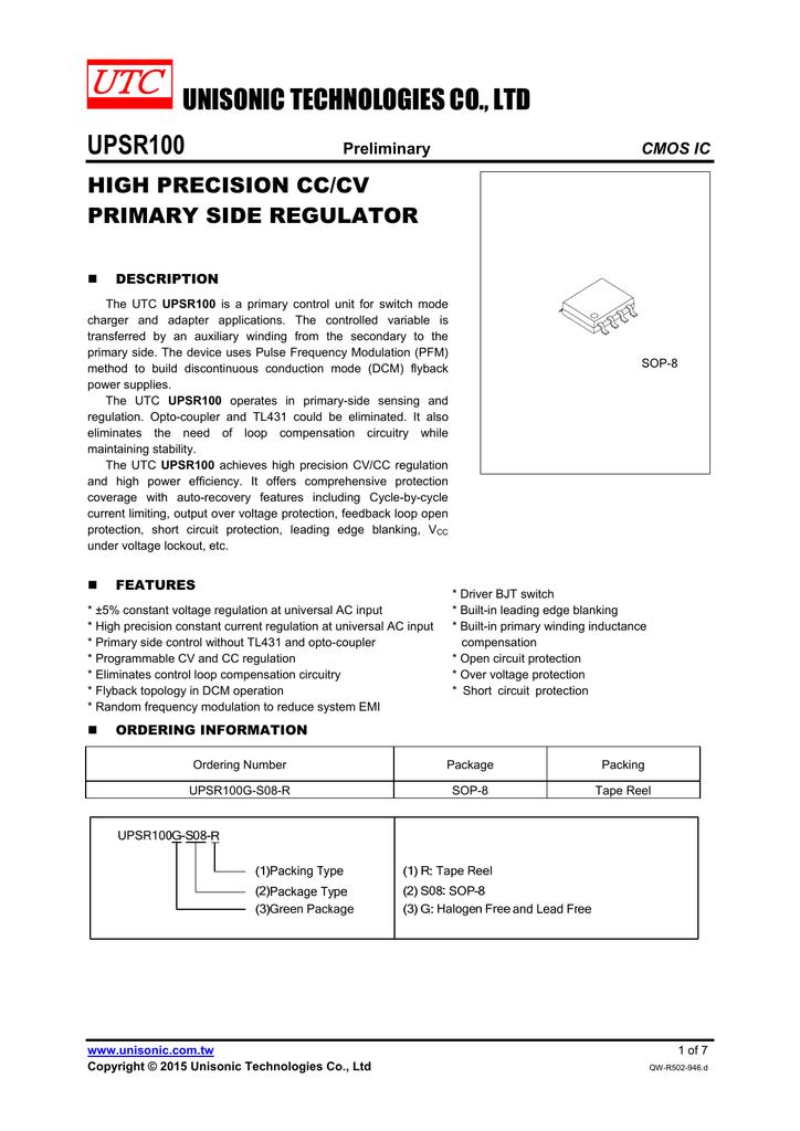 Unisonic Technologies Co Ltd Upsr100 Constant Voltage Circuit