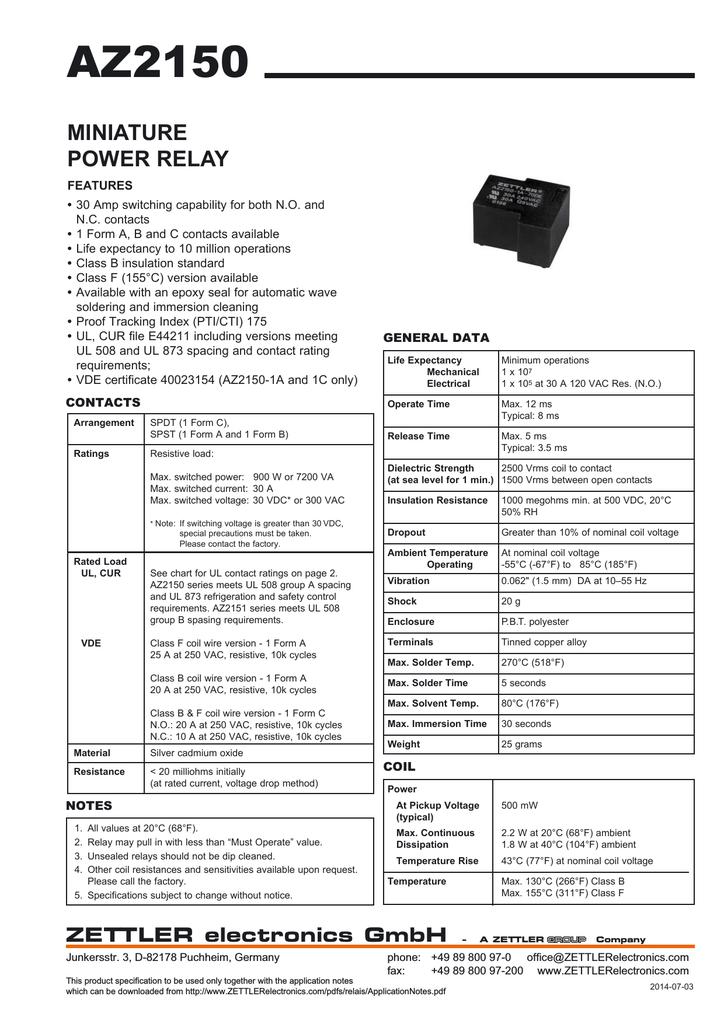 Az2150 Zettler Electronics Relay Coil Pickup Voltage
